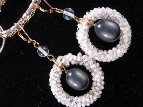 Reclaimed Vintage Earrings, Vintage Earring Assemblage, Bridesmaid Gift, Under 25, Grey Pearl - On Target