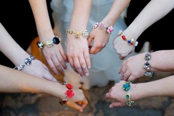 Bridesmaid Bracelet, Bridesmaid Gift, Set of 6, Set of Six, Reclaimed Vintage Bracelets, Custom Wedding Jewelry, Bulk Discount, Unique, OOAK