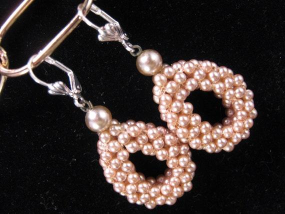 Vintage Earrings, Bridesmaid Gift, Bridal Earrings, Wedding Earrings, Pink Blush Pearls, Reclaimed Earrings - Blushing Bride
