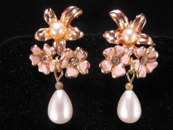 Reclaimed Vintage Earrings, Bridesmaid Gift, Statement Earrings, Under 25, Vintage Enamel Flowers, Pearl Teardrop - Miss Behaving