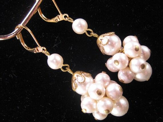 Vintage Earrings, Wedding Earrings, Bridesmaid Gift, Bridal Earrings, Vintage Pearl Clusters - Delighted