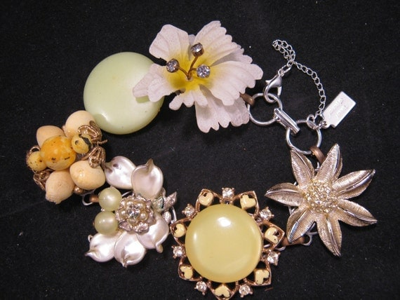 Reclaimed Vintage Bracelet, Bridesmaid Gift, Under 40 Wedding Bracelet, Vintage Earring Bracelet, Cluster Earrings -  Lemon Ice
