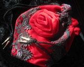Victorian, Red Velvet, Gothic, Halloween, Steampunk, Opera, evening, drawstring bag/pouch/purse, Accessory