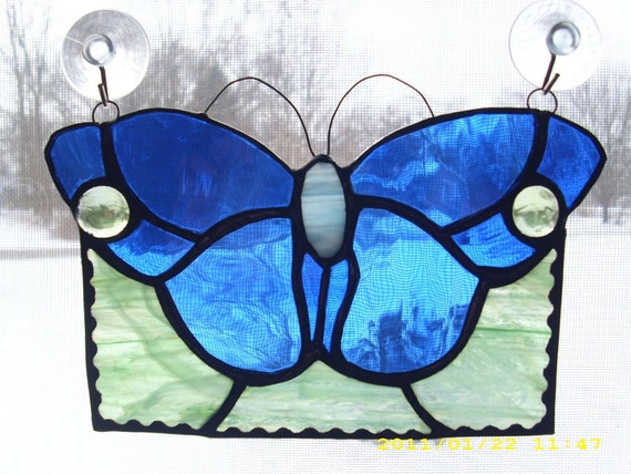 BLUE stained glass buterfly