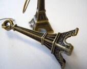 Eiffel Tower Earrings in Antique Brass