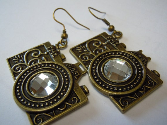Antique Brass & Rhinestone Camera Earrings