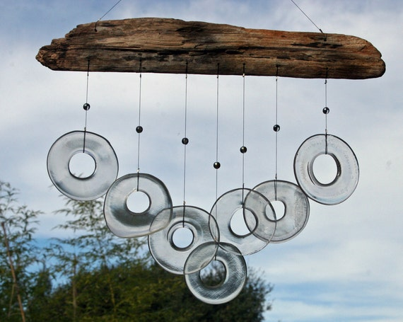 driftwood with clear recycled glass rings windchime mobile