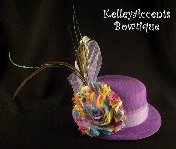 Purple Felt Headband Hat - Mini Top Hat