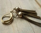 Jellyfish Vintage Earrings ... LAST PAIR Antique Silver and Bronze Modernist Long Earrings