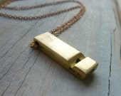 Whistle Necklace ... LAST ONE ... Vintage Brass Stylised Whistle on Brass Chain