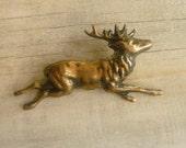 Stag Brooch ... Antique Gold Black Vintage Scottish Deer