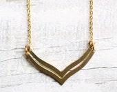 Wishbone Chevron Necklace ... Geometric Zigzag Vintage Brass