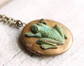 Frog Locket ... Verdigris Vintage Locket with Garden Toad