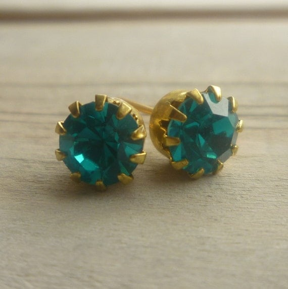 Turquoise Teal Earrings  ...  Blue Jewel Studs in Vintage Tiffany Settings