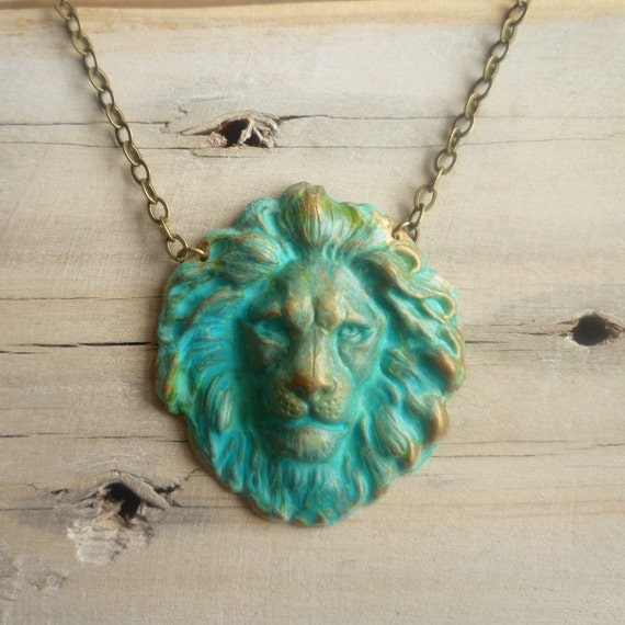 Verdigris Lions Head Necklace...  Classical Turquoise Indie Kitsch