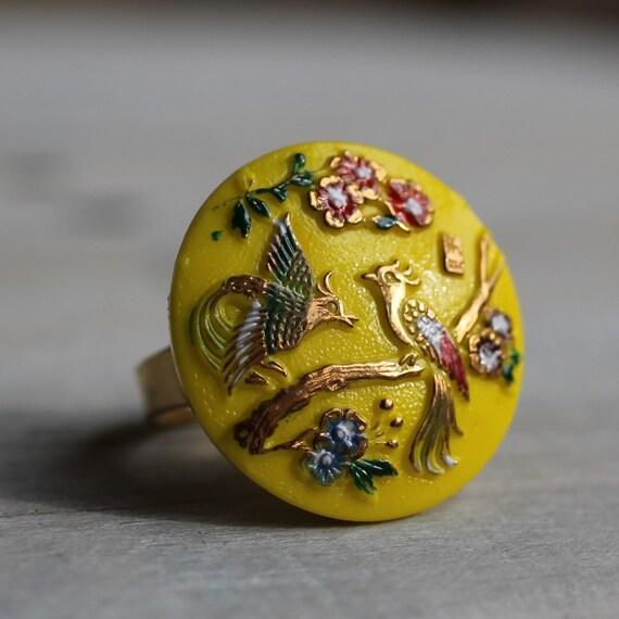 Bird of Paradise Cocktail Ring ...Lemon Neon Yellow Vintage Glass Peacock Japanese