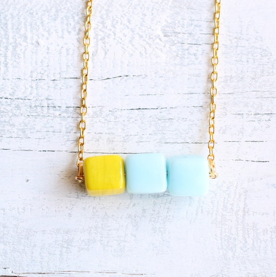 Neon Necklace ... Turquoise Lemon Yellow Clash Block Pendant Beach