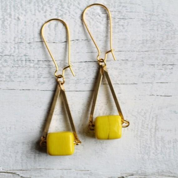 Neon Yellow Earrings ... Geometric Lemon Block