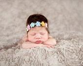 Baby headband, newborn headband, adult headband, child headband and photography prop The multi sprinkled- TINY flowers headband