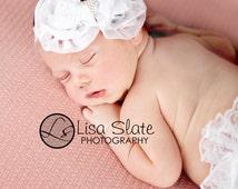 Baby headband, newborn headband, adult headband, child headband and photography prop The single  sprinkled- Ruffle Bow headband