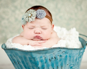 Baby, infant, toddler. teen, adult, Newborn Photo Prop The triple sprinkled- Charlea BLUE- stretch headband