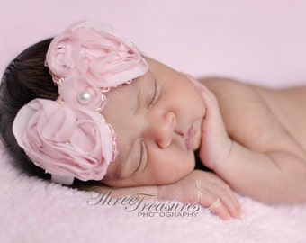 SALE! Baby headband, newborn headband, adult headband, child headband and photography prop The single sprinkled Chiffon BOW h
