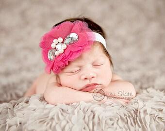 Baby headband, newborn headband, adult headband, vintage headband and photography prop single sprinkled- Victorian tulle sparkle headband