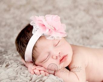 SALE Baby headbands, newborn headband, adult headband, child headband and photography prop The Single Sprinkled- Chiffon Lace Rose- headband