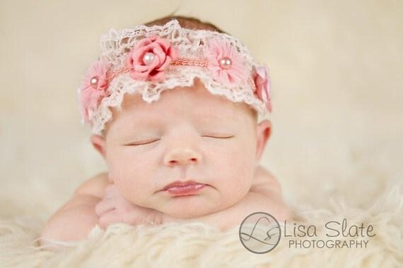 The single sprinkled- Crochet ROSE crown pink- stretch headband, baby headbands, newborn headbands, infant, toddler, adult