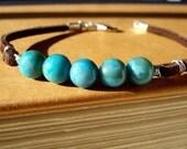 Journey - Brown Suede Leather Turquoise Jasper Gemstone Bracelet