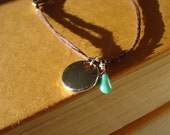 Reflection - Brown Cotton Cord Silver Disc and Turquoise Czech Glass Teardrop Bracelet