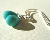 Droplets - Turquoise Glass Teardrop Earrings