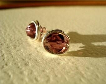 Faceted Amethyst Czech Glass Wire Post Earrings