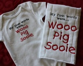Arkansas Razorbacks Baby Gift Set - Burp Cloth and Wooo Pig Sooie Bodysuit