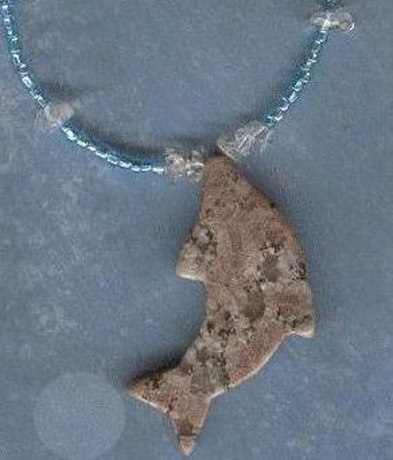 Sea life necklace with stone dolphin and quartz fish