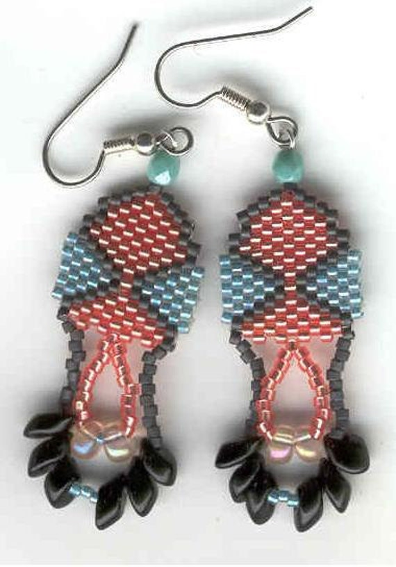 Hourglass beaded dangle earrings--coral and teal color