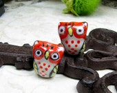 2, Large Handcrafted Porcelain Owls Beads/ Charms, Qty.2