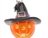 3-D Hand Painted Halloween  Jack O' Lantern with Witch Hat Charm, Qty.1