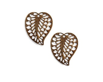 Vintaj   Brass Filigree Leaf Charm ,  Qty:  2