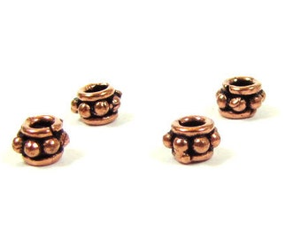 Artisan Handcrafted, Genuine Copper Beads / Spacers, 4mm, Qty.10