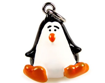 3-D Hand Painted Resin Penguin Charm, Qty 1