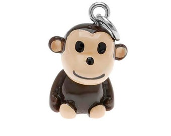 3-D Hand Painted Resin  Monkey Charm, Qty 1