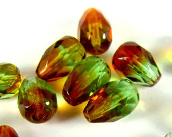 Czech Fire Polished Tear Drop Glass Beads, 10X7mm,  Tropical Topaz , Qty: 10