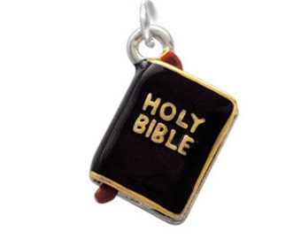 3-D Silver Plated Enameled Black Bible with Gold Words Charm, Qty.1