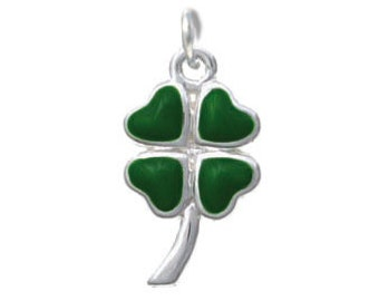 Silver Plated, Enameled, Lucky Four Leaf Clover Charm, Qty: 1