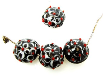 Lampwork Beads, 15 x 8mm, Black and White with Red  Bumps Discs, Qty:5