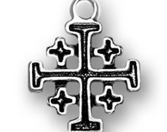 Sterling Silver Jerusalem or Crusaders Cross Charm, Qty 1,