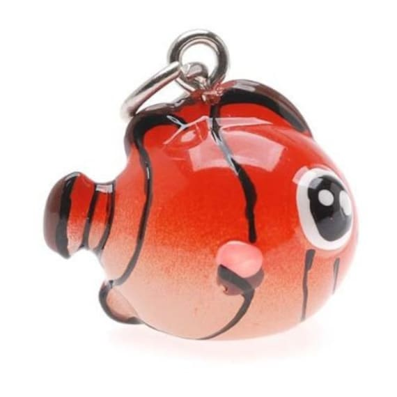 3-D Hand Painted Resin Clown Fish Charm, Qty 1