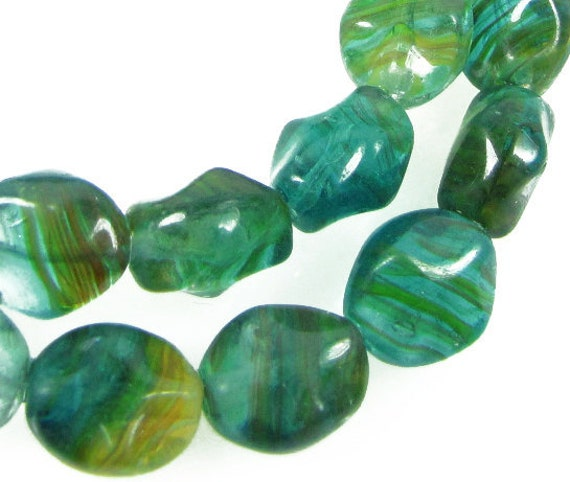 Czech  Glass Beads, 10x8mm  Aquarelle, Diamond Window, Qty: 10