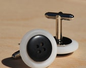 Black and White Button Cufflinks - ready to ship